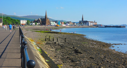 Largs in Ayrshire, Scotland - Sea-front - on a beautiful , sunny day.