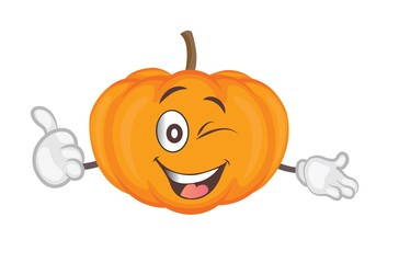 cute pumpkin character. cartoon vector illustration