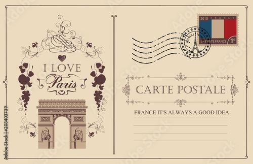Retro postcard with famous Triumphal arch in Paris, France