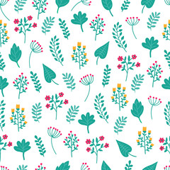 Cute hand drawn floral colorful seamless pattern of flowers and plants on white background. Perfect for scrapbooking, wrapping paper, textile etc. Ditsy print. Vector illustration