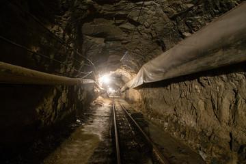 Underground old ore gold mine tunnel shaft passage mining technology with rails