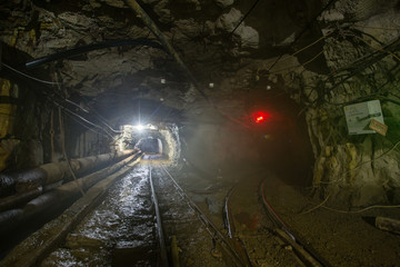Underground old ore gold mine tunnel shaft passage mining technology with rails