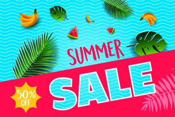 Vector summer poster. Paper cut style. Summer Sale.