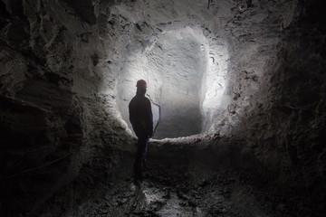 Underground old ore gold mine tunnel shaft passage mining technology with miner