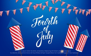 Fourth of July, USA Independence Day celebration. Banner with lettering, buntings and fireworks