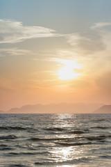 Orange sunset and sea