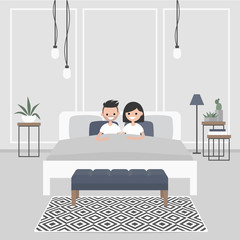 Modern bedroom interior. Couple of young caucasian adults lying in the double bed. Scandinavian design.