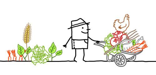 Cartoon Farmer with Wheelbarrow, Vegetables and Tools