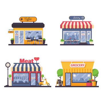 Detailed storefront for grocery and meat shop, bakery, coffee cafe. Vector facade illustration for local business and selling