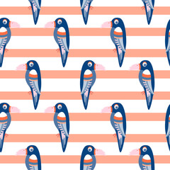 Parrot pattern seamless bird vector. Blue toucans on coral red striped background.