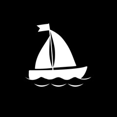 Vector white silhouette of sailing ship isolated on black background.