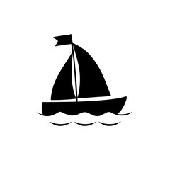 Black yacht boat icon isolated on white background.
