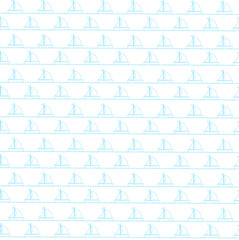 Seamless sea pattern with blue sailing ships on white background.