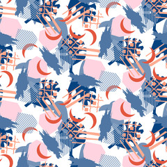 Abstract collage pattern seamless texture vector. Fabric repeat print in blue color tones.