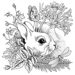 Image of small rabbit in flowers and plants with butterfly and dragonfly. Vector black and white illustration.