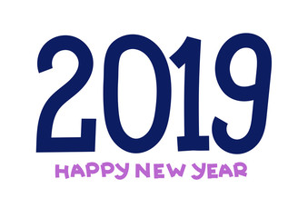 2019 year symbol. Happy new year. Banner, card. Purple and violet color. Greeting card, poster. Hand drawn. Doodle