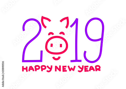 2019 Symbol Happy New Year Chinese Pig Banner Card Purple And