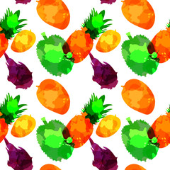 Seamless pattern withpineapple, mango, draconian fruit, durian with blots and stains on a white background. Watercolor art. Freehand creative vector illustration.