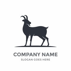 Goat Antler Mountain Farm Horn Zodiac Capricorn Animal Silhouette Logo Vector Design Template Icon Symbol
