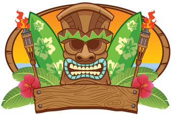 tiki mask with surfing board