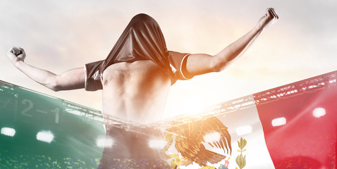 Mexico national team. Double exposure photo of stadium and soccer or football player celebrating goal with his jersey on head