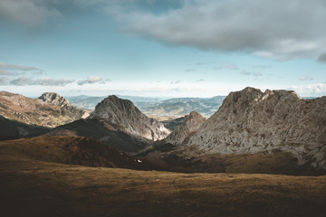 Mountain range in beautiful valley