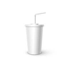 White plastic Cup with tube mockup. Vector realistic design element.