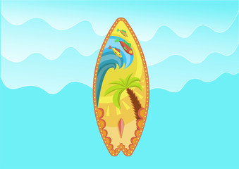 Surf and summer design. Holiday sea summer with colored surfboard. Vector illustration in flat style