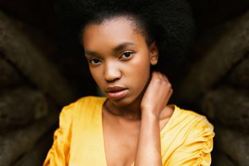 Attractive black model in yellow dress