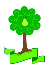 Stylized pear tree logo. Young pear tree with green leafs, roots and pear. Isolated vector illustration.