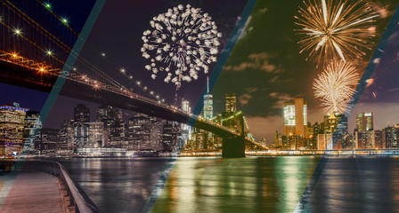 Fireworks over Manhattan, New York City.