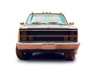 American pickup truck. White background. Wall mural