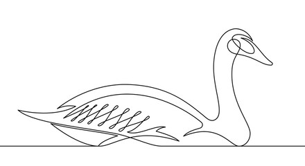 Foto op Plexiglas One Line Art Goose Continuous Line Vector Illustration