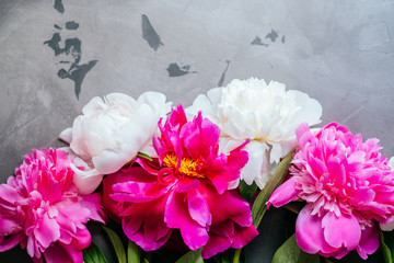 Beautiful fuchsia and white peony flower bouquet on the grey concrete background. Closeup, flatlay style.