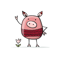 Cute piggy for your design