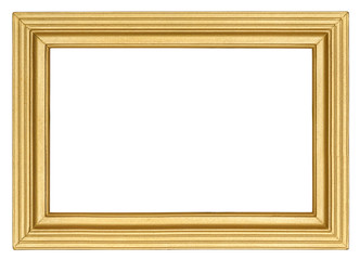Golden wooden picture frame with carved linear pattern in retro style isolated on white background