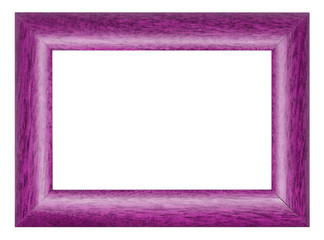 Painted in pink wooden picture frame isolated on white background