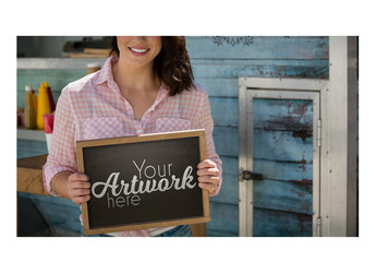 Handheld Chalkboard Mockup