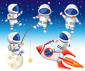 Cute astronaut collection. Astronaut sits on rocket, astronaut sits on moon and fishing and three dancing astronauts. Cartoon design style. Flat vector illustration on sky background