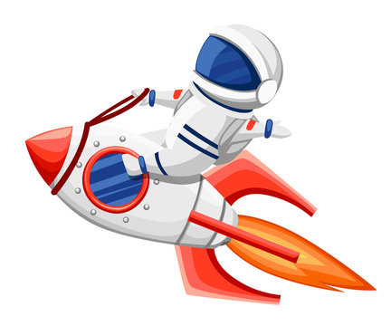 Cute astronaut illustration. Astronaut sits on rocket and flying through space. Cartoon design style. Flat vector illustration isolated on white background
