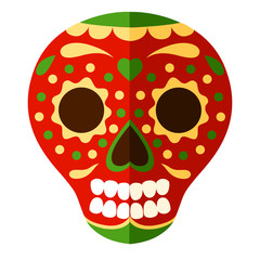 Colorful Mexican skull mask. Day of The Dead skull, cartoon style. Sugar skull with floral element. Vector flat illustration isolated on white background