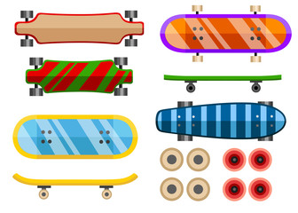 Collection of skateboard. Flat vector icon. Skateboard different sides illustration. Cartoon vector illustration isolated on white background