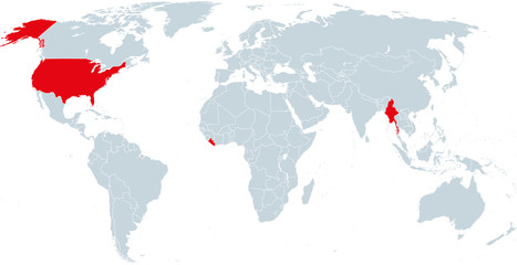 Map of countries officially not using metric units. Liberia, Myanmar and the United States of America using the Imperial system. Infographics. Isolated illustration on white background. Vector.