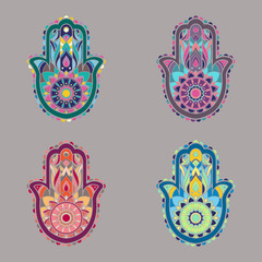 Set of colorful isolated lineless hamsa hands illustrations