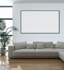 Modern bright interiors apartment with mockup poster frame 3D rendering illustration
