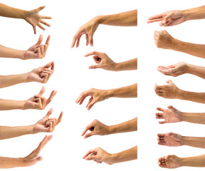 Clipping path of multiple male hand gesture isolated on white background. Isolation of hands gesturing or symbol on white background.