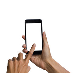 Man hand holding black smartphone with white screen for mock up design. isolated on white background. insert clipping path easy for use.