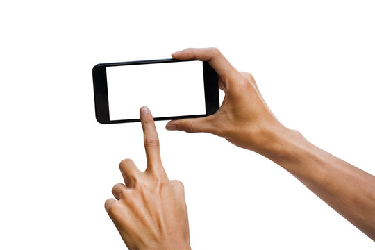 Man hand holding black horizontal smartphone with white screen for mock up design. isolated on white background. insert clipping path easy for use.