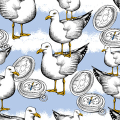 Seamless pattern with image of seagulls one on the other, compass, a blue striped background. Vector illustration.