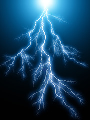 Blue lightning arc electric discharge